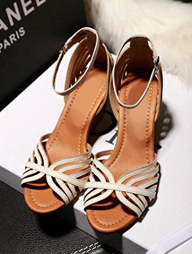 XY&GKNouveau Style Avec des sandales d'été Sandales en cuir Simple Sweet Fish MouthThirty-Eight,Sandales blanc confortable et belle