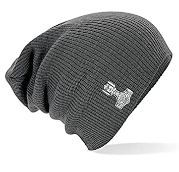 Fan-O-Menal Long Beanie Slouch Beanie Hat with Einstickung – Thor s Hammer  Multi 8a9ceefe7fc6
