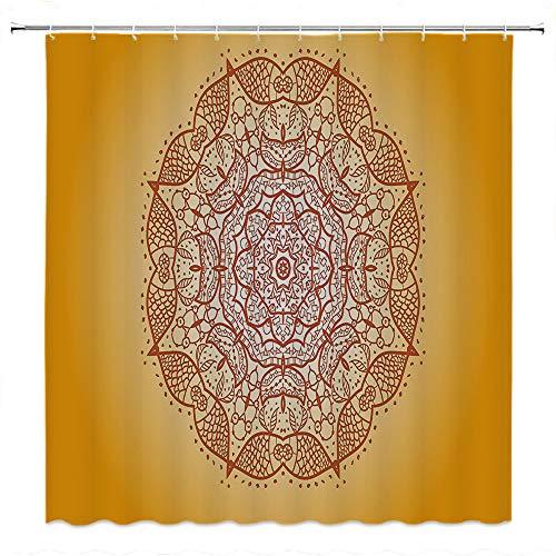 (SATVSHOP Shower-Curtain-Decor-Heavy-Weighted-and-Waterproof-Mandala-etro-Oriental-Embellished-Circular-Mehndi-Arab-que-Curved-Form-Kirsch-Image-Orange.W36-x-L72-inch)