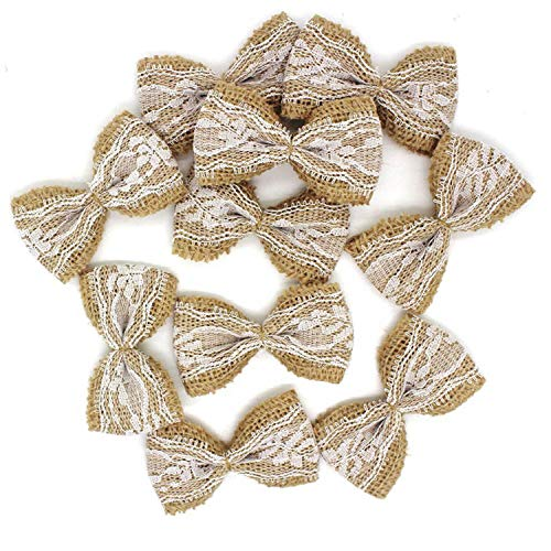 10pcs Vintage Natural Jute hessian bows lace ribbon