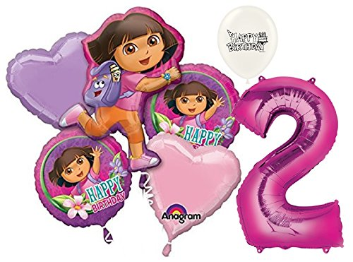- 2nd Birthday Dora the Explorer Balloon Bouquet Bundle