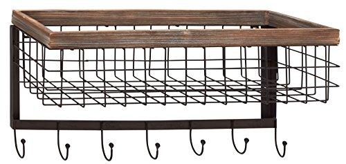 Benzara Attractive Wood Metal Wall Basket Hook