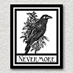 Nevermore Raven Crow Art Print Edgar Allen Poe Halloween Gothic Art Blackbird Black Bird Wall Decor Vintage 8x10 8