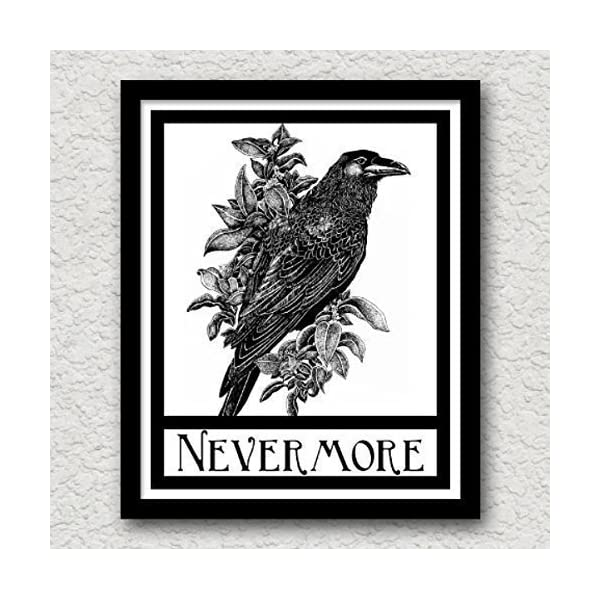 Nevermore Raven Crow Art Print Edgar Allen Poe Halloween Gothic Art Blackbird Black Bird Wall Decor Vintage 8x10 5