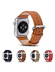 Apple Watch Band,Fullmosa(TM)Genuine Leather Strap Wristband With Free Adapters for Apple Watch/ Sport/ iWatch Replacement Band with Metal Clasp in Edition 42mm Brown