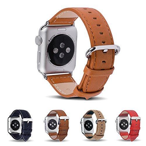 Apple Watch Armbänder, Fullmosa® 42mm Hauptschicht Rindsleder Uhrenarmband Ersatz-Armband mit Edelstahlschließe für Apple Watch,Braun