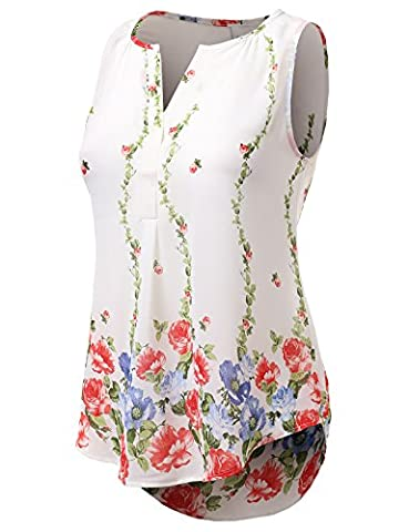 H2H Womens Classic Chiffon Flower Border Print Henley Necked Sleeveless Blouse WHITE US S/Asia S - Flower Sleeveless Blouse