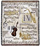 """""""Music to My Ears"""" Violin Notes Trumpet Tapestry Throw Blanket 50"""" x 60"""""""