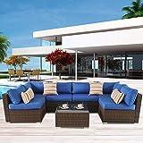 Patio Sofa Brown PE Rattan 7pcs Sectional Sofa Set Garden Furniture Cushioned Couch