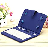 """IRULU 7"""" PU Leather Micro USB Keyboard Case With Buttons Stand Cover for Tablet (Blue)"""