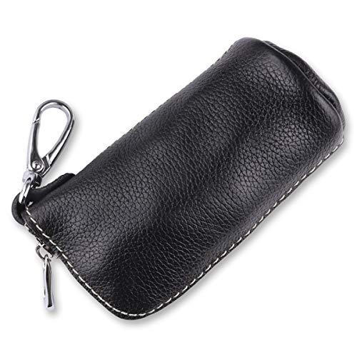 (CHAMPLED Black Premium Leather Car Key Chain Keyring Coin Holder Zipper Case Remote Wallet Bag fits for Cadillac)