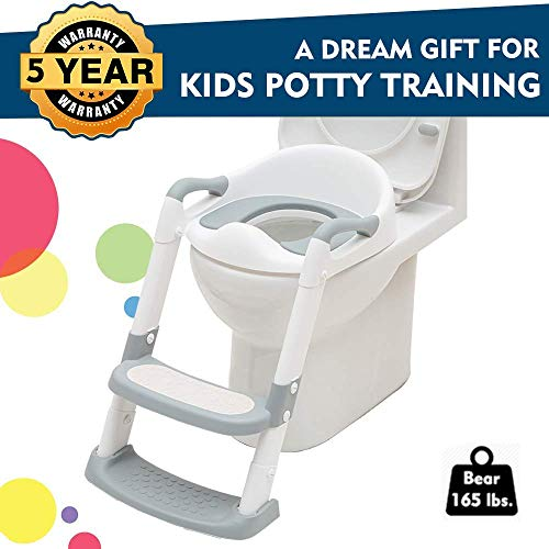 EGREE Potty Training Toilet Chair Seat with Step Ladder for Kids and Toddler Boys Girls - Soft Padded Seat with Foldable Wide Step and Safety Handles - Light Gray and White