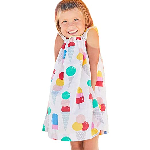 118d098d0 Amazon.com: Baby Sleeveless Swing Skirt, Toddler Girls Cartoon Ice-Cream  Printed Casual Dress Summer Sweet Sundress: Kitchen & Dining
