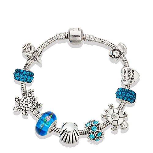 Majesto European Ocean Beach Charm Beaded Bracelet 7.5 Inch for Women and Teen Girls Sea Starfish Turtle Shell Aquamarine Murano Glass Beads Prime Quality Gift 925 Silver Plated Italian Glass Bead