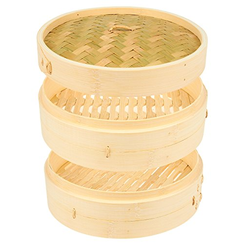 3 Piece Set - 100% Natural Bamboo Steamer Basket - Dumpling & Bun Steamer - Great for Asian Cooking, Buns, Dim Sum, Vegetables, Fish - 10 x 6.2 x 10 Inches