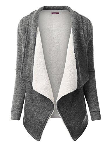 Doublju Oversized Warm Faux Fur Open Cardigan Coat For Women With Plus Size Heathergray X Large