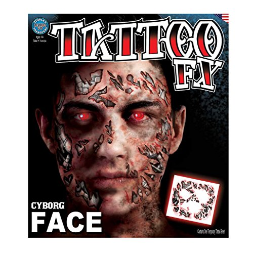 Tinsley Transfers Cyborg Face Temporary Tattoo FX Face Kit -