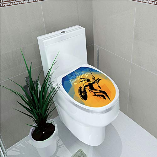 Toilet Applique,Native American,War Dance Ritual Against Ancient Totem Poly Effect Triangles Abstract,Pale Orange Blue,Custom Sticker,W12.6