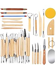 Clay Sculpting Tools Set of 38 with Bag, Wooden Handle Pottery Carving Tool Kit for Beginners Professional Art Crafts Schools and Home Safe for Kids