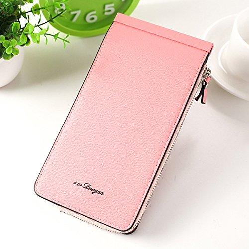 en Pochette Cartes Femmes De Card TENGGO Slots en Téléphone Les Pink Porte Microfibre Cuir Pink Multi vEx57Pqw5