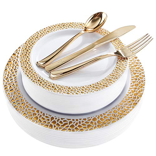 - BUCLA 25 Guest Gold Plastic Plates with Disposable Plastic Silverware, Hammered Design Plastic Tableware Include 25 Dinner Plates,25 Salad Plates,25 Forks, 25 Knives, 25 Spoons