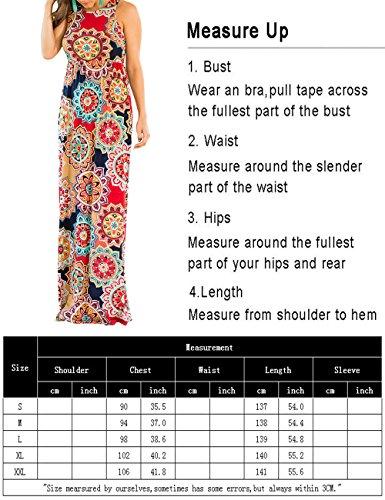 Dunea Robe Maxi Féminin Floral Automne Imprimé Manches 3/4 Tunique Casual Long Medallion1 Robe Maxi