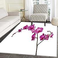 Magenta Dining Room Home Bedroom Carpet Floor Mat Wild Orchids Petal Florets Branch Romantic Flower Exotic Plant Nature Artistic Print Non Slip rug 5x6 Violet