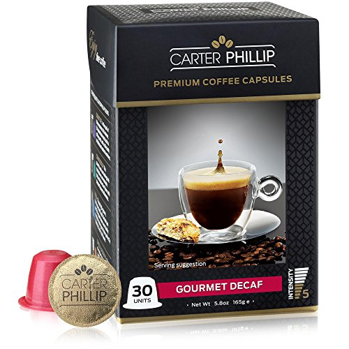 30ct Capsule (Decaf Nespresso Compatible Capsules - 30 Count - Premium Dark Roast Decaf Espresso by Carter Phillip Fine Coffee - Fit Nespresso Original Line Machines - Delicious Alternative to Nespresso Pods)