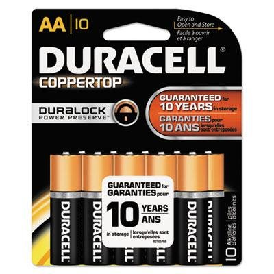 Duracell - Coppertop Alkaline Batteries W/ Duralock Power Preserve Technology Aa 10/Pack Product Category: Breakroom And Janitorial/Batteries & Electrical Supplies