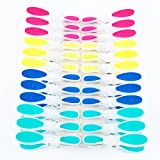 Adwaita Sturdy Non-slip Wide Open Plastic Clothespins For Air-drying Clothes 1 Pack( 6 Pink, 6 Yellow, 6 Navy, 6 Teal)