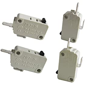TWTADE/4Pcs Universal Microwave Oven Door Micro Switch for DR52 NC + NO (Normally Close + Normally Open) 16A 125/250V ZW7-15-W/NC+NO