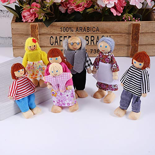 Joyshare Wooden Dollhouse Family Set - 7 Action Figure Dollhouse Set Pretend Play Dolls for Dollhouse, 100% Natural Wood, Nontoxic Paint, Smooth Edges ()