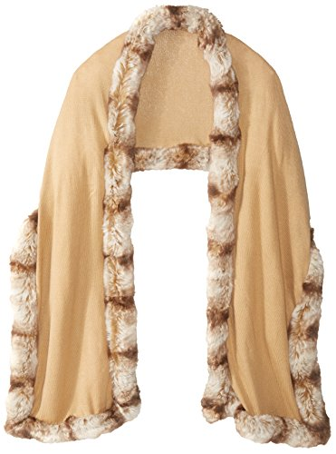 BADGLEY MISCHKA Women's Knit Wrap with Faux Chinchilla, Camel/Almond, One Size by Badgley Mischka