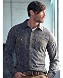 Ryan Michael Men's Aztec Silk Jacquard Shirt Cobalt XXX-Large