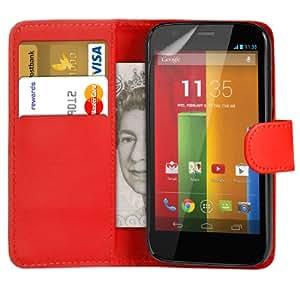 123 Online Motorola Moto T Red billetera de cuero del caso del tirón bolsa de la cubierta + Protector de pantalla y paño de pulido