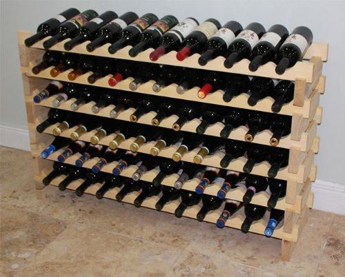 Stackable Wine Rack-72 Bottles Modular Hardwood Wine Racks, Very Easy to Put ()