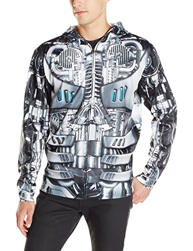 Faux Real Men's Robot Mask Hoodie, Silver, Medium