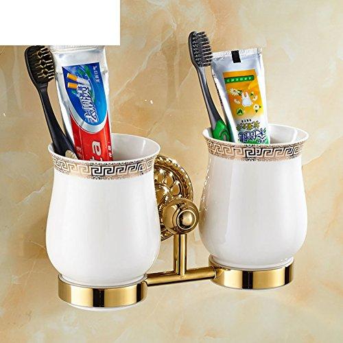 All copper toothbrush holder/gargle cup shelf /Wall mug rack/Bathroom brushing Cup/Ceramic dual Cup holder-A