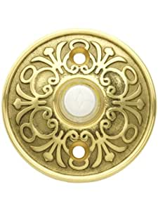 Solid Brass Lancaster Style Buzzer Button In Polished Brass. Brass Door Bell Button.