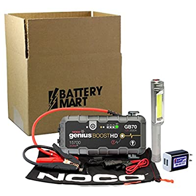 NOCO Genius Boost Plus GB70 2000 Amp 12V UltraSafe Lithium Jump Starter & NEBO BIG LARRY Silver Flashlight AND Universal 2 Port USB Wall Charger.