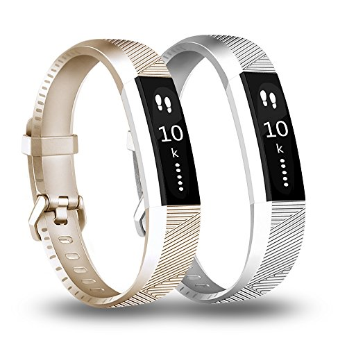 Fundro Compatible with Fitbit Alta HR Bands, Newest Sport Replacement Wristbands Secure Metal Buckle Fitbit Alta HR/Fitbit Alta (A# 2-Pack Gold+Silver, Small)