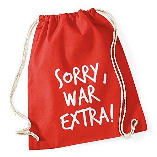 Turnbeutel mit Sprüchen Sorry war extra Hipster Beutel Tasche Jutebeutel Gymbag Stringbag Drawstring rot 23gPwG64yn