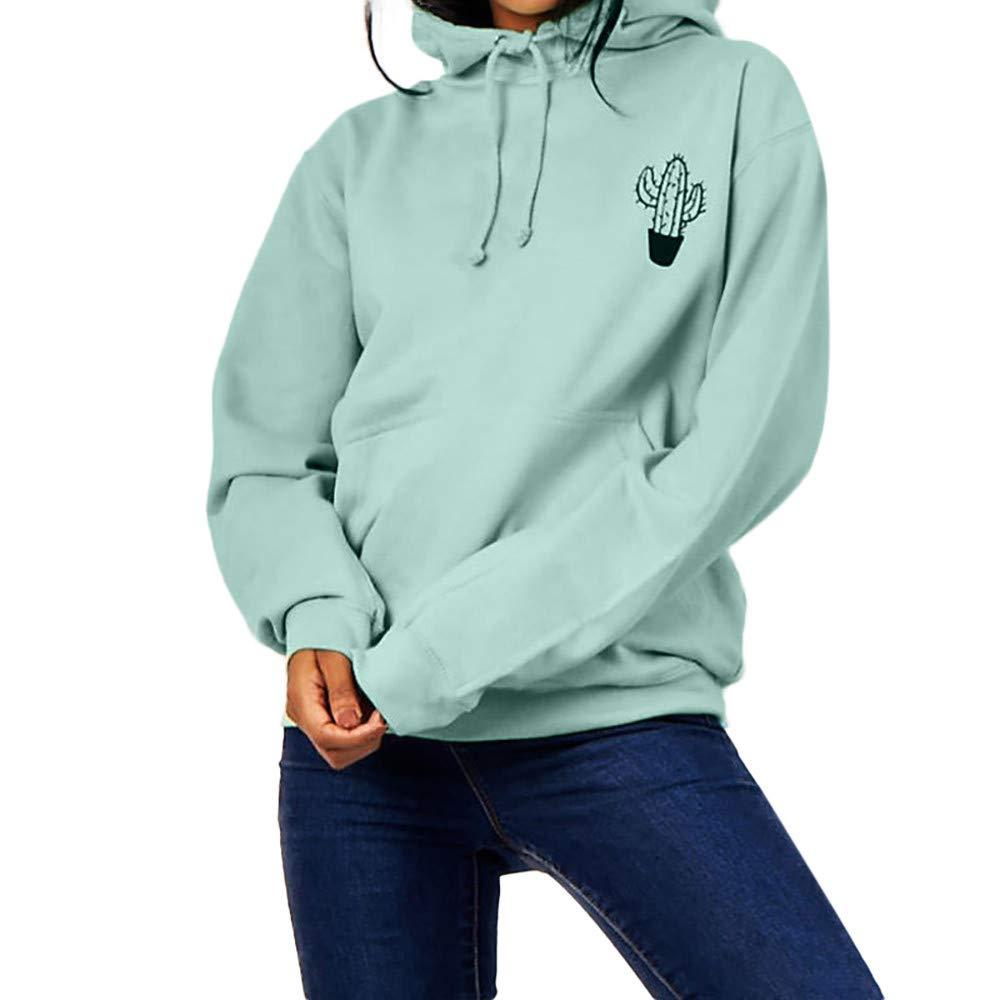 Lelili Women Cactus Letter Printed Hoodie Sweatshirt Fashion Long Sleeve Kangaroo Pocket Pullover Tops