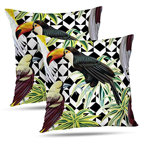 Kayel Watercolor Tropical BirdThrow Pillow Covers, Set of 2 18x18 Inch Floral Tropic Jungle Plants with Fashion Birds Bedroom Living Room Sofa Home Decoration Pillowslip