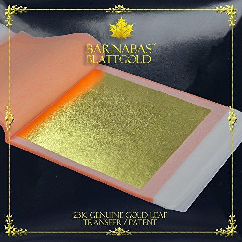 Genuine Gold Leaf Sheets 23k - by Barnabas Blattgold - 3.4 inches - 25 Sheets Booklet - Transfer Patent - Gold Leaf Imitation