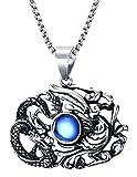Xusamss Hip Hop Titanium Steel Animal Dragon Phoenix Tag Pendant Crystal Necklace,24inches Chain