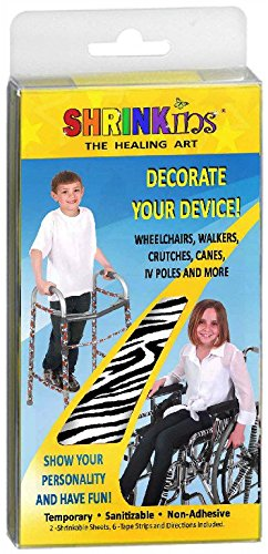 Medical Device Decorating Cover Kit~ Fun Fashionable Shrink Wrap Decorations for Walkers Wheelchairs Canes Crutches ~ Temporary Uses No Adhesive by Shrinkins The Healing Art – Teen & Child