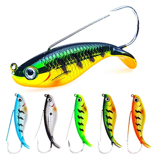 AMHDV Fishing Lures for Bass, Hard Bait Minnow VIB Lure for Bass Trout Walleye (Pack of 5) (Type 1-5PCS)