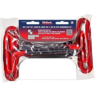 EKLIND 53168 Cushion Grip Hex T-Key allen wrench - 8pc set SAE Inch Sizes 3/32-1/4 (6In shaft) - Eklind Allen Wrench Set - .com