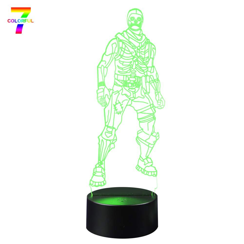 Skull Trooper 3D Lamp LED Fortress Skin Battle Royale 3D Lights 7 Color Changing for Bedroom Home Decor Grandson Party Gift Toys (Skull Trooper Black Base)